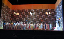 LADY MACBETH OF MTSENSK by Shostakovich - conductor: Antonio Pappano   director: Richard Jones~the wedding party   extreme right: Christopher Ventris (Sergey), Katarina Dalayman (Katerina Ismailova)~T...