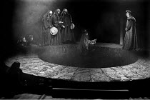 MACBETH by Shakespeare design: Carl Toms masks: Mark Wheeler director: Frank Dunlop ~IV/i - Macbeth/witches/apparitions - centre: crowned child with tree   rear right: Macbeth ~Young Vic Theatre, Lond...