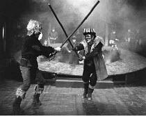MACBETH by Shakespeare design: Carl Toms masks: Mark Wheeler director: Frank Dunlop ~final scene - Macbeth & Macduff fight~Young Vic Theatre, London SE1  1975