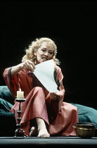 MACBETH  by Shakespeare  director: Michael Bogdanov ~Lynn Farleigh (Lady Macbeth) burns letter~English Shakespeare Company / Peacock Theatre, London WC2     11/1992