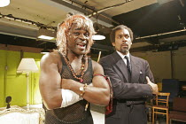 MACBETH  by Shakespeare  director: Max Stafford-Clark ~l-r: Danny Sapani (Macbeth), Ben Onwukwe (Duncan)~an Out of Joint production, Arcola Theatre, London E8  14/10/2004