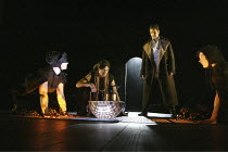 MACBETH  by Shakespeare  director: Dominic Cooke ~Greg Hicks (Macbeth) with the Witches (l-r) Meg Fraser, Louise Bangay, Ruth Gemmell~Royal Shakespeare Theatre, Royal Shakespeare Company (RSC), Stratf...