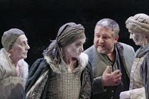 MACBETH  by Shakespeare  design: Christopher Oram  lighting: Neil Austin  director: John Caird  ~Simon Russell Beale (Macbeth) with the Witches (l-r: Janet Whiteside, Ann Firbank, Jane Thorne) ~Almeid...