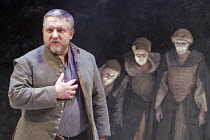 MACBETH  by Shakespeare  design: Christopher Oram  lighting: Neil Austin  director: John Caird  ~Simon Russell Beale (Macbeth) with the Witches (l-r: Janet Whiteside, Ann Firbank, Jane Thorne)~Almeida...