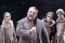 MACBETH  by Shakespeare  design: Christopher Oram  lighting: Neil Austin  director: John Caird   ~Simon Russell Beale (Macbeth) with the Witches (l-r: Janet Whiteside, Ann Firbank, Jane Thorne) ~Almei...