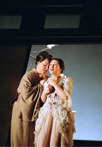 'MADAMA BUTTERFLY' (Puccini)~Suzuki comforts Butterfly - l-r: Jane Irwin (Suzuki), Natalia Dercho (Cio-Cio-San)~Scottish Opera  05/12/2000