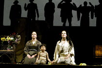 'MADAM BUTTERFLY' (Puccini)~waiting for Pinkerton- l-r: Christine Rice (Suzuki), Koji Takahashi (Sorrow), Julia Melinek (Cio-Cio-San)~English National Opera/London Coliseum., WC2                    11...