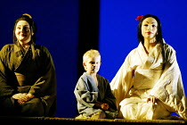 'MADAMA BUTTERFLY' (Puccini)~waiting for Pinkerton, l-r: Enkelejda Shkosa (Suzuki), Luke Scott (Sorrow), Cristina Gallardo-Domas ( Cio-Cio-San)~The Royal Opera / Covent Garden, London WC2           18...