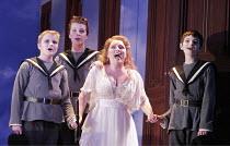 'THE MAGIC FLUTE' (Mozart - conductor: Jean-Yves Ossonce   director: Dominic Cooke),l-r: Iwan Gruffydd (2nd Boy), James Arwyn Jones (1st Boy), Rebecca Evans (Pamina), Nicholas Evans (3rd Boy),Wales Mi...