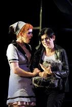 'THE MARRIAGE OF FIGARO' (Mozart)~l-r: Mary Nelson (Susanna), Victoria Simmonds (Cherubino)~English National Opera/London Coliseum                08/11/2001