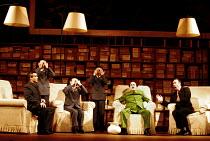 'NIXON IN CHINA' (Adams/Goodman)~Chou En-lai, Mao and Nixon exchange views~l-r: David Kempster (Chou En-lai), Robert Brubaker (Mao Tse-tung), James Maddalena (Richard Nixon) with Mao's secretaries~Eng...