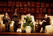 l-r: Victoria Simmonds (Nancy T'ang, First Secretary to Mao), Ethna Robinson ( Second Secretary to Mao), Robert Brubaker (Mao Tse-tung), James Maddalena (Richard Nixon) in NIXON IN CHINA at English Na...