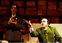 Ethna Robinson ( Second Secretary to Mao), Robert Brubaker (Mao Tse-tung) in NIXON IN CHINA at English National Opera (ENO), London Coliseum, London WC2  07/06/2000~music: John Adams  libretto: Alice...