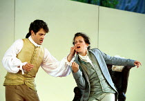 'LE NOZZE DI FIGARO' (Mozart)~Act I - Figaro prepares Cherubino for life in the army: Mark Stone, Louise Innes~Garsington Opera   14/06/2000