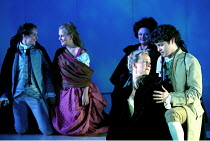 'LE NOZZE DI FIGARO' (Mozart)~Act IV/final scene, Susanna and Figaro (right) make up: Hulda Bjork Gardarsdottir, Mark Stone~with (rear, l-r) Louise Innes (Cherubino), Bibi Heal (Barbarina), Jennifer R...