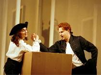 'LE NOZZE DI FIGARO' (Mozart)~Act I: Marina Comparato (Cherubino), Peter Mattei (Figaro)~Glyndebourne Festival Opera    20 May 2000
