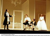 'LE NOZZE DI FIGARO' (Mozart)~Act II - l-r: Mariusz Kwiecien (Count Almaviva), Peter Mattei (Figaro), Christiane Oelze (Susanna), Maria Costanza Nocentini (The Countess)~Glyndebourne Festival Opera...