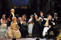 'LE NOZZE DI FIGARO' (Mozart)~Act III - the wedding - left: Gidon Saks (Count Almaviva), Geraldine McGreevy (Countess Almaviva)~cutting the cake: Nuccia Focile (Susanna), Nicola Ulivieri (Figaro)  rig...