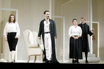 'LE NOZZE DI FIGARO' (Mozart)   (director: Daniel Farncombe   conductor: Mark Wigglesworth)~l-r: Linda Tuvas (Cherubino), Mariusz Kwiecien (Count Almaviva), Sarah Fox (Susanna), John Graham-Hall (Don...