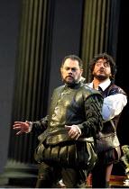 'OTELLO' (Verdi)~l-r: Alexandru Agache (Iago), Jose Cura (Otello)~The Royal Opera, London WC2  19/04/2001