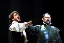 'OTELLO' (Verdi)~l-r: Jose Cura (Otello), Alexandru Agache (Iago)~The Royal Opera, London WC2  19/04/2001