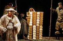'DAS RHEINGOLD' (Wagner - conductor: Bernard Haitink   director: Gotz Friedrich),centre: Deborah Riedel (Freia - concealed by her ransom of gold bars),The Royal Opera / Covent Garden   London WC2...