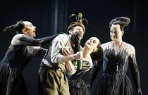 DIE ZAUBERFLOTE (THE MAGIC FLUTE) by Mozart l-r: Christine Rice (Second Lady), Simon Keenlyside (Papageno), Gillian Webster (First Lady), Yvonne Howard (Third Lady) The Royal Opera / Covent Garden,...