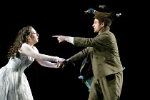 DIE ZAUBERFLOTE - The Magic Flute by Mozart~Dorothea Roschmann (Pamina), Simon Keenlyside (Papageno)~The Royal Opera, Covent Garden, London WC2  25/01/2003~(c) Donald Cooper/Photostage   photos@photos...