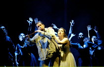 DIE ZAUBERFLOTE (THE MAGIC FLUTE) by Mozart~trial by water: Will Hartmann (Tamino), Dorothea Roschmann (Pamina)~The Royal Opera, Covent Garden, London WC2  25/01/2003~(c) Donald Cooper/Photostage   ph...