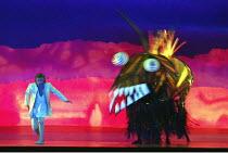 DIE ZAUBERFLOTE (THE MAGIC FLUTE) by Mozart - conductor: Vladimir Jurowski   director: Adrian Noble~opening scene: Pavol Breslik (Tamino) with monster~Glyndebourne Festival Opera / East Sussex, Englan...