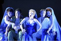 DIE ZAUBERFLOTE by Mozart - conductor: Vladimir Jurowski   director: Adrian Noble~l-r: Romina Basso (Third Lady), Jonathan Lemalu (Papageno), Tatiana Monogarova (First Lady), Pavol Breslik (Tamino), J...