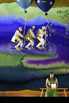 DIE ZAUBERFLOTE (THE MAGIC FLUTE) by Mozart - conductor: Vladimir Jurowski   director: Adrian Noble~Jonathan Lemalu (Papageno) with, l-r: Milo Harries (Third Boy), Leo Baker (First Boy), Jake Alden-Fa...
