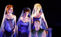 DIE ZAUBERFLOTE (THE MAGIC FLUTE) by Mozart - conductor: Charles Mackerras   director: Adrian Noble~Three Ladies, l-r: Louise Armit (Second Lady), Romina Basso (Third Lady), Kate Royal (First Lady) wi...