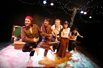 """GRIMMS   THE FINAL CHAPTER   adapted by Joanna Volinska & Alistair Green   director: Alistair Green   ,""""The Soldier and The Vampire"""" - l-r: Kate Lush (Soldier), Zoot Lynam, David McClelland, Carole Ca..."""