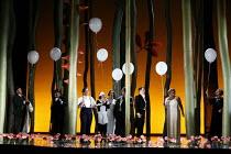 THE MARRIAGE OF FIGARO (Le nozze di Figaro)   by Mozart   conductor: Roland Boer   director: Olivia Fuchs,Act IV - l-r: Graeme Danby (Antonio), Stuart Kale (Don Basilio), Victoria Simmonds (Cherubino)...