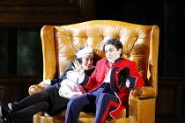 THE MARRIAGE OF FIGARO (Le nozze di Figaro)   by Mozart   conductor: Roland Boer   director: Olivia Fuchs,l-r: Claire Debono (Barbarina), Victoria Simmonds (Cherubino),English National Opera / London...