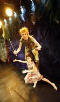 PETER PAN   by J.M.Barrie   music by Leonard Bernstein   costume designer: Gary Page   director: Stephanie Sinclaire,Katherine Kastin (Peter Pan), Sheniz Mehmet (Tinkerbell),King's Head Theatre, Londo...