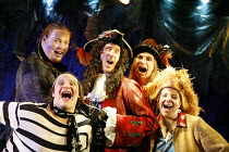 PETER PAN   by J.M.Barrie   music and lyrics by Leonard Bernstein   costume designer: Gary Page   director: Stephanie Sinclaire,Hook & Pirates - clockwise from bottom left: John Fricker (Smee), Jeremy...