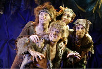 PETER PAN   by J.M.Barrie   music and lyrics by Leonard Bernstein   costume designer: Gary Page   director: Stephanie Sinclaire,the Lost Boys, l-r: Liam McDonnell (Slightly), Charlie Wild (Tootles), L...