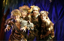 PETER PAN   by J.M.Barrie   music and lyrics by Leonard Bernstein   costume designer: Gary Page   director: Stephanie Sinclaire,the Lost Boys, l-r: Charlie Wild (Tootles), Liam McDonnell (Slightly), L...