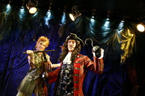 PETER PAN   by J.M.Barrie   music by Leonard Bernstein   costume designer: Gary Page   director: Stephanie Sinclaire,Katherine Kastin (Peter Pan), Peter Land (Captain Hook),King's Head Theatre, London...