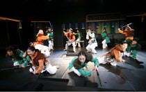 ROMEO AND JULIET   by Shakespeare   director: Oh Tae-Suk,mid centre, Tybalt and Mercutio fight, l-r: Lee Tae Hyung (Tybalt), Park Se Yong (Paris), Lee Do Hyun (Mercutio)   Montague gang in green, Capu...