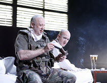 BLASTED (ZERBOMBT)   by Sarah Kane   director: Thomas Ostermeier,l-r: Thomas Thieme (Soldier), Ulrich Muhe (Ian),Schaubuhne am Lehniner Platz, Berlin / BITE:06 / Barbican Theatre, London EC2   07/11/2...