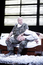 BLASTED (ZERBOMBT)   by Sarah Kane   director: Thomas Ostermeier,(top) Thomas Thieme (Soldier), Ulrich Muhe (Ian),Schaubuhne am Lehniner Platz, Berlin / BITE:06 / Barbican Theatre, London EC2   07/11/...