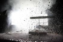BLASTED (ZERBOMBT)   by Sarah Kane   director: Thomas Ostermeier,hotel room engulfed in explosion,Schaubuhne am Lehniner Platz, Berlin / BITE:06 / Barbican Theatre, London EC2   07/11/2006, (c) Donal...