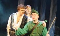 BLONDEL   lyrics: Tim Rice   music: Stephen Oliver   director: Patrick Wilde,l-r: Chris Grierson (Blondel), Abi Finley (Fiona),, David Paul West (Robin Hood),Pleasance Theatre, Islington, London N7...