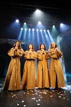 BLONDEL   lyrics: Tim Rice   music: Stephen Oliver   director: Patrick Wilde,The Monks, l-r: Charlie Tighe, Nick Trumble, James Durrant, Gavin James,Pleasance Theatre, Islington, London N7...