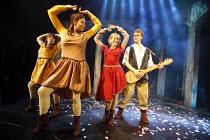 BLONDEL   lyrics: Tim Rice   music: Stephen Oliver   director: Patrick Wilde,Chris Grierson (Blondel) with The Blondettes, l-r: Rebecca Seale, Polli Redston, Zoe Harrison,Pleasance Theatre, Islington,...