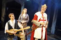 BLONDEL   lyrics: Tim Rice   music: Stephen Oliver   director: Patrick Wilde,l-r: Chris Grierson (Blondel), Abi Finley (Fiona),, Mark Inscoe (King Richard),Pleasance Theatre, Islington, London N7...