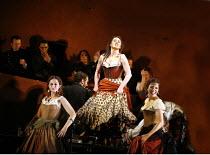 CARMEN  by Bizet  conductor: Antonio Pappano  director: Francesca Zambello ~~centre, l-r: Elena Xanthoudakis (Frasquita), Anna Caterina Antonacci (Carmen), Viktoria Vizin (Mercedes)~The Royal Opera, C...